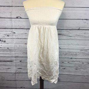 Dresses & Skirts - Crochet Off White Strapless Dress